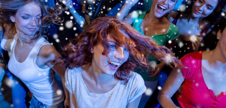 party, holidays, celebration, nightlife and people concept - smi